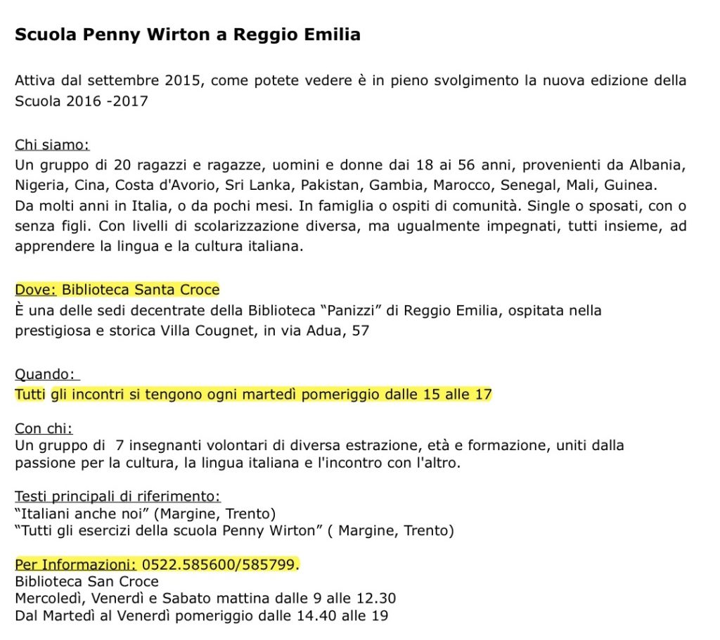 ORARI PW REGGIO EMILIA